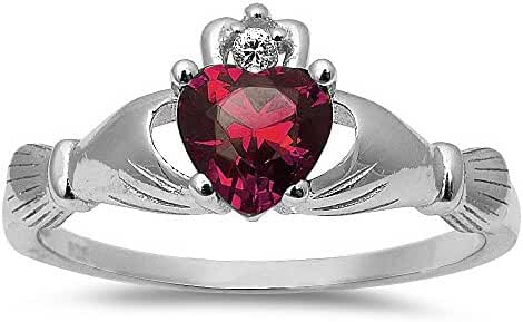 Simulated Ruby Irish Claddagh Heart Cubic Zirconia Ring .925 Sterling Silver Ring Sizes 3-12