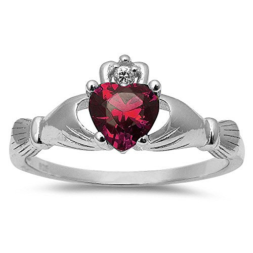Simulated Ruby Irish Claddagh Heart Cubic Zirconia Ring .925 Sterling Silver Ring Size 9 (Heart Ruby Ring Diamond)