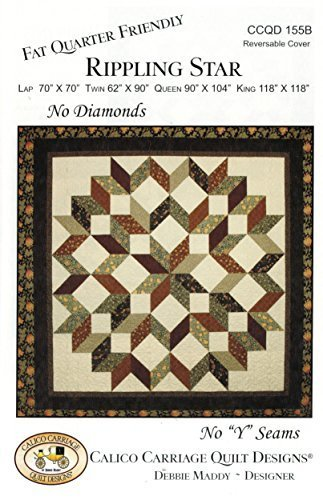 Rippling Star Quilt Pattern No Diamonds No quotYquot Seams Fat Quarter Friendly 4 Size Options