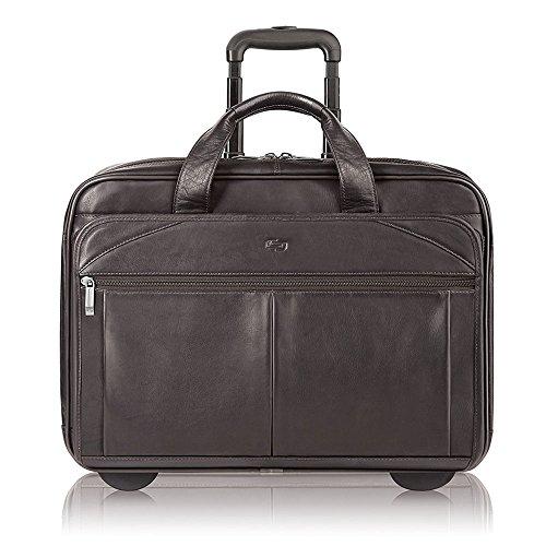 Solo Walker 15.6 Inch Premium Leather Rolling Laptop Case, E