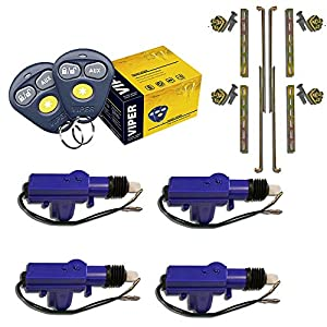 Viper 3100V 1-Way Keyless Entry Car Alarm Security System + (4) Heavy Duty Universal 12 Volt 360 Degree Power Motor Door Lock Actuator