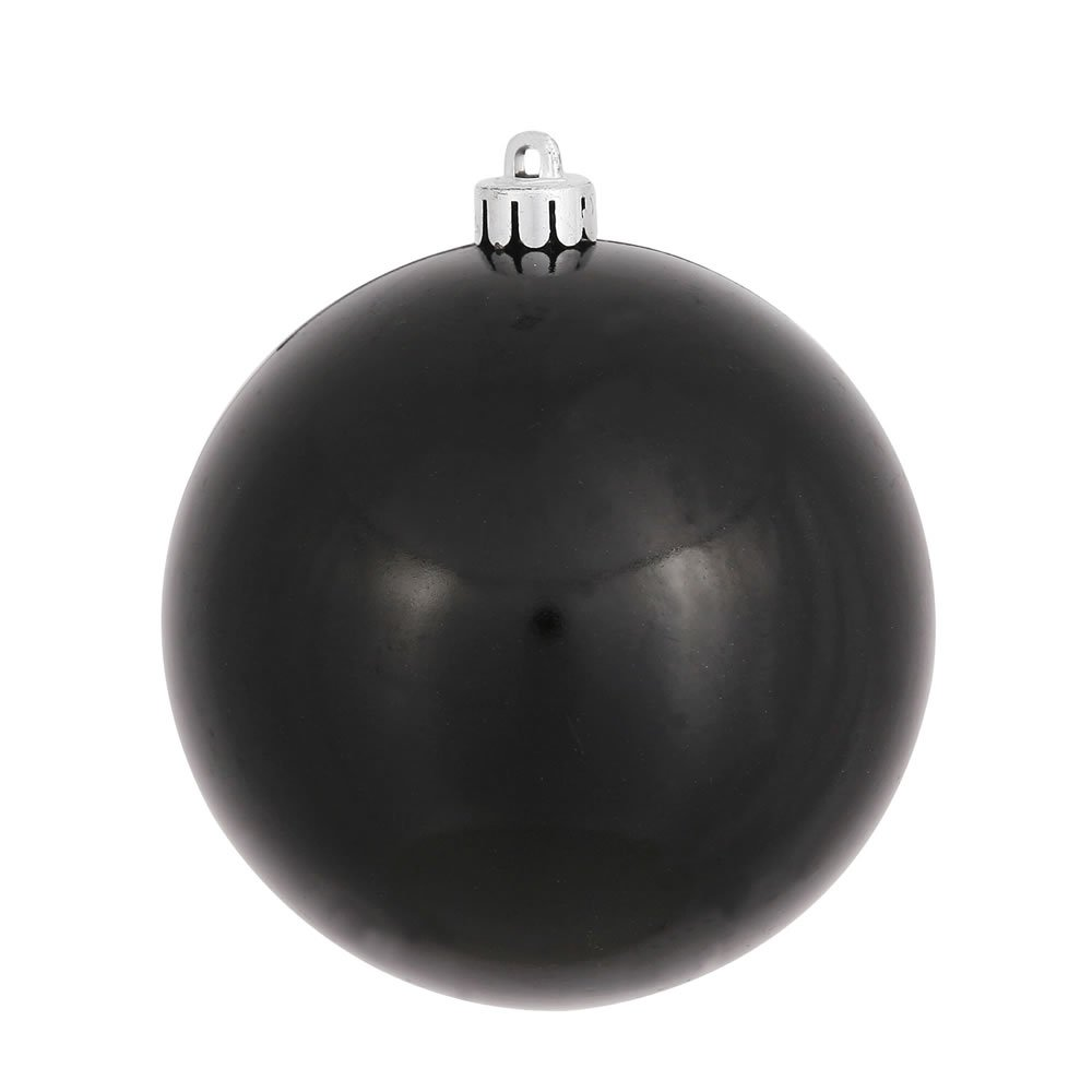 Vickerman Candy Finish Seamless Shatterproof Christmas Ball Ornament, UV Resistant with Drilled Cap, 12 per Bag, 3'', Black