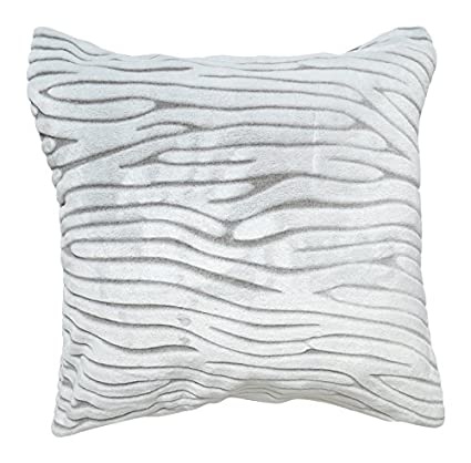 Soleil docre 526384 Funda de cojín extra suave 60x60 cm SAVANE blanco y gris
