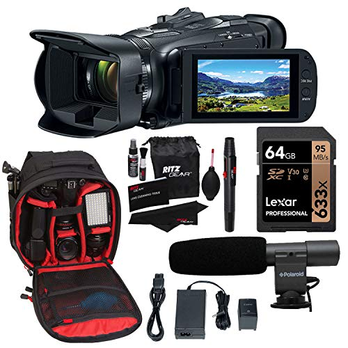 Canon Vixia HF G50 Camcorder, Lexar 64GB U3 Memory Card, Video Mic, Camera Backpack Bundle