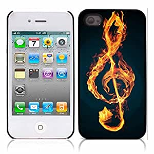 Treble Clef Music Hard Plastic and Aluminum Back Case for Apple iphone 4 4S