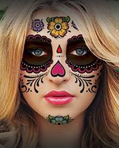 Floral Day of the Dead Sugar Skull Temporary Face Tattoo (Easy Halloween Makeup Looks)