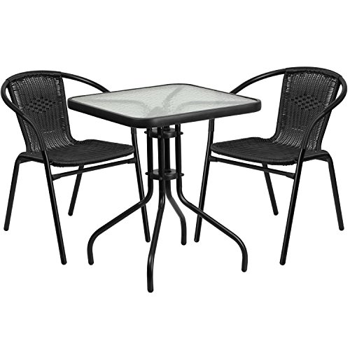 Flash Furniture 23.5'' Square Glass Metal Table with 2 Black Rattan Stack Chairs (Flash Furniture 5 Piece Table Set)