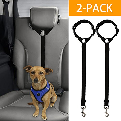 Bwogue 2 Packs Dog Cat Safety Seat Belt Strap Car Headrest Restraint...