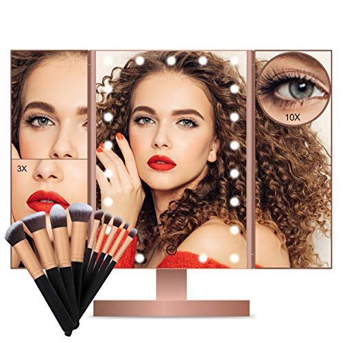 FASCINATE Lighted Makeup Mirror, Trifold Vanity Mirror with 21 LED Lights and -