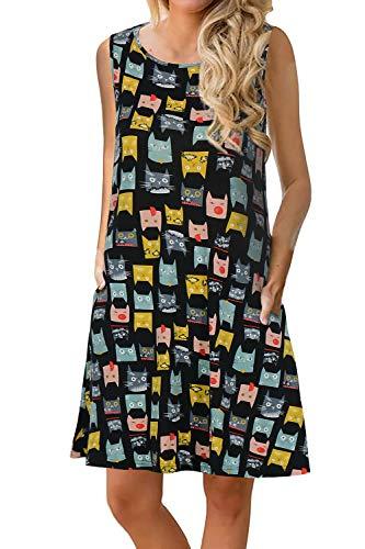 Manydress Women's Summer Casual Sleeveless Dress Floral Printed Swing Dress T-Shirt Dress Sundress with Pockets MY028 (Black Cat, XS)]()