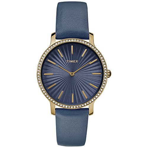 Timex Women's TW2R51000 Metropolitan Starlight 34mm Navy/Gold-Tone Leather Strap Watch (Navy Leather Watch Strap)
