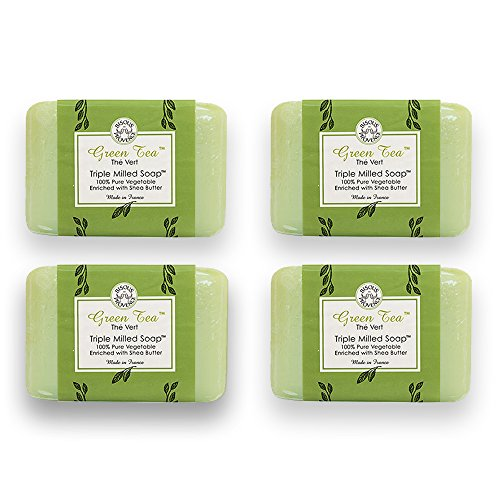 Bisous de Provence French Soap, Green Tea The Vert Triple Milled Soap enriched with Shea Butter, 100% Pure Vegetable Based, Made in France, Paraben Free 4 x 7 oz (200g) Value Pack (Bath Vert)