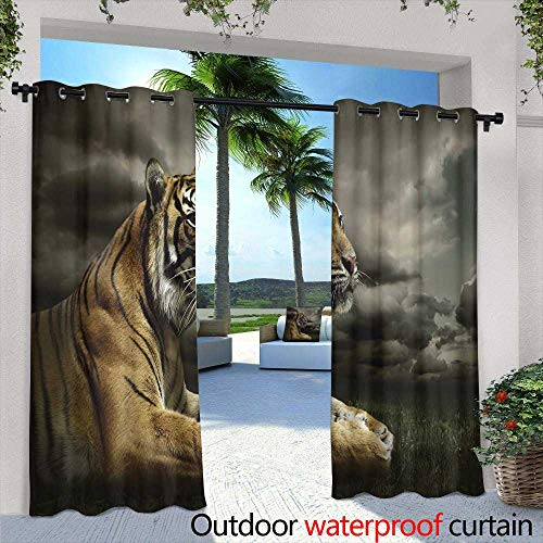 Lightly Outdoor- Free Standing Outdoor Privacy Curtain,The Phoenix Flying in Ring of fire,W72 x L108 Outdoor Patio Curtains Waterproof with Grommets (Outdoor Phoenix Curtains Patio)
