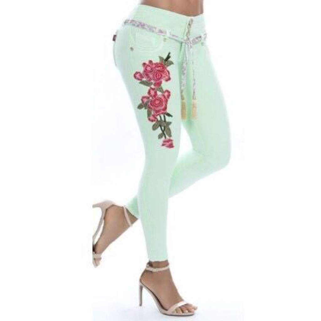 beautyjourney Vaqueros Bordados de Las Mujeres Leggings ...