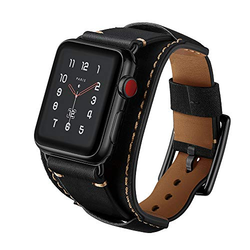 LoveBlue for Apple Watch Band 42mm, iwatch Band Apple Watch Genuine Leather Band Replacement Strap with Stainless Steel Clasp for Series 3/Series 2/Series 1 (42mm-Crazy Horse Leather Black)