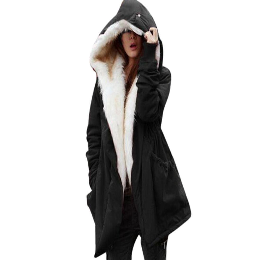 Challyhope Women Winter Warm Fleece Faux Fur Thick Jacket Parka Hooded Trench Outwear (L, Black)
