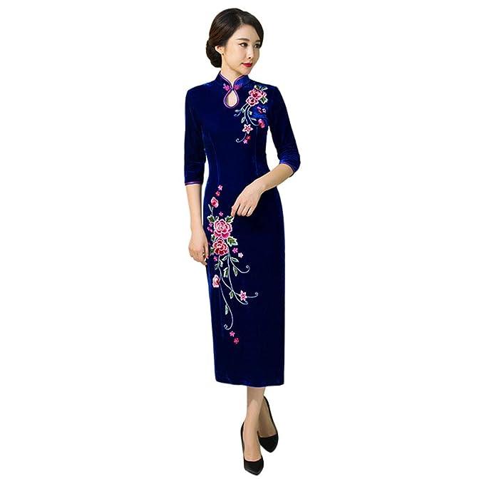 Goyajun Vestido Largo de Cheongsam de Terciopelo para Mujer ...