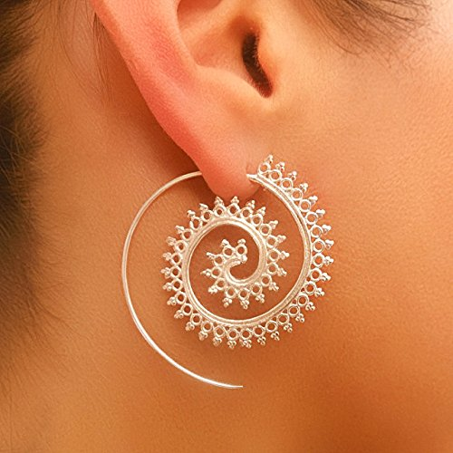 Silver Earrings - Silver Spiral Earrings - Gypsy Earrings - Tribal Earrings - Ethnic Earrings - Indian Earrings - Statement Earrings (ES3)