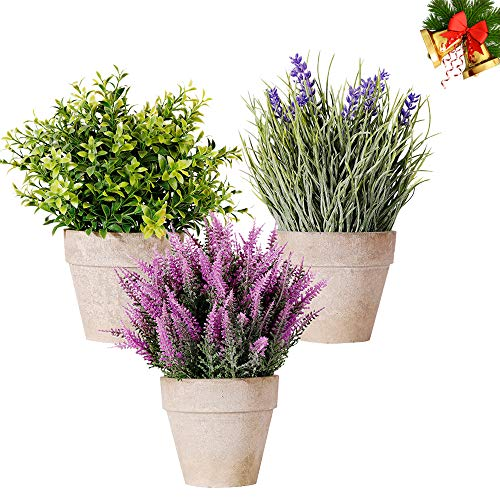 Artificial Mini Plants 3Pack NEW RUICHENG Fake Mini Potted Artificial Plants Lavender Plastic Plant Flowers in Pots Small Potted Artificial Plants Real Green Bonsai for Indoor Home Bathroom Desk Decor (Flowers Plastic And Plants)