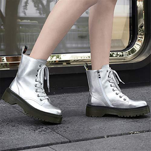 Caminatas Suela Invierno Zapatos Yan Rosa Para Al Botas Aire Otoño Gruesa Botines Cuero Martin Cordones Plata Mujer Con De Libre Wqq4vr6