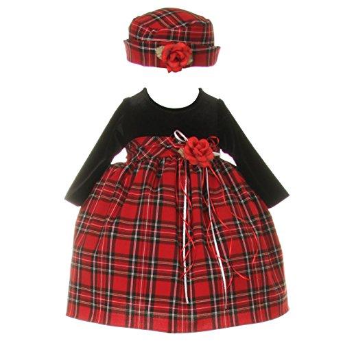 Baby Girls Black Red Velvet Checker Corsage Hat Christmas Dress 24M - Velvet Corsage