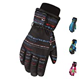 Majeck Ski Glove Waterproof Windproof For 5-10 Years Old Boys Girls, Winter Outdoor Sports 100% Warm Snowboard Gloves Thermal Warm Snow Skiing Snowboarding Snowmobile with Adjustable Cuffs (Color-D)