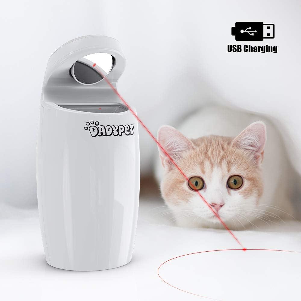DADYPET Juguetes para Gatos Juguetes interactivos para Gatos y Perros rotación automática Irregular de Puntos Rojos, USB Recargable (Incluye Cable)