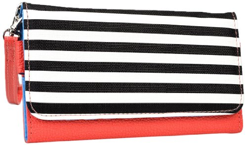 Kroo Clutch Wristlet Wallet for 5.75-Inch Smartphones - Retail Packaging - Coral with Black and White Stripes