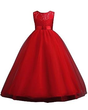MISSMAO Vestido de Princesa de Niñas Vestidos Sin Mangas Vestidos Elegante de Coctel Fiesta Largos de