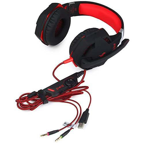 KOTION G2100 3.5mm PC Gaming Headset Stereo Ultra Soft Earmuff LED Game Headphone, Line Volume Control MIC, Black+red