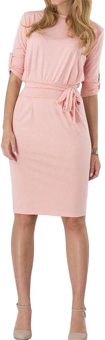 WAWAYA Womens Bodycon 1//2 Sleeve Lace up Bandage Wrap Casual Wear to Work Midi Pencil Dress