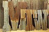 custom wedding fans - Rusty Barn Tin Letter Custom rustic metal wall decor 8