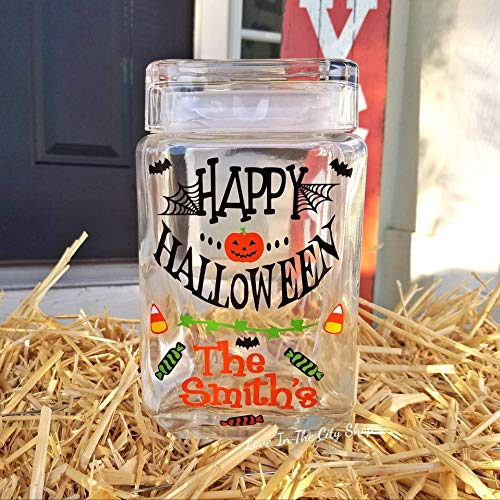 Halloween Candy Jar - a fun family Halloween cookie jar - a Happy Halloween or Trick or Treat candy -