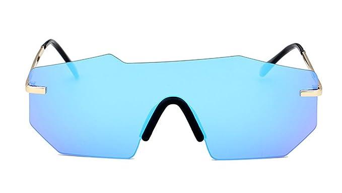 b69f3da070 Sobredimensionado Gafas de sol futuristas sin montura Espejo de una pieza  Lentes reflectantes para Hombre (