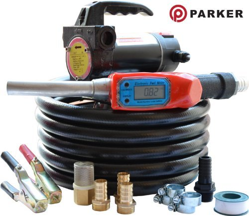 12V Portable Diesel Transfer Fuel Pump Kit 12V - With Digital Flow Meter Parker Products