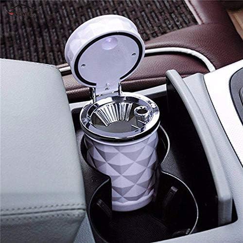 EUEMCH ライトカーカップカーアクセサリー黒と白の車の灰皿LEDライトシガーライター