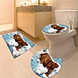 Bathroom Non-Slip Floor Mat Naughty Playful Troubled Puppy Dog After Biting A Cotton Pillow Machine-Washable
