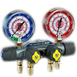 Yellow Jacket 49962 Manifold Only degrees F, bar/psi Scale, R-410A Refrigerant, Red/Blue Gauges