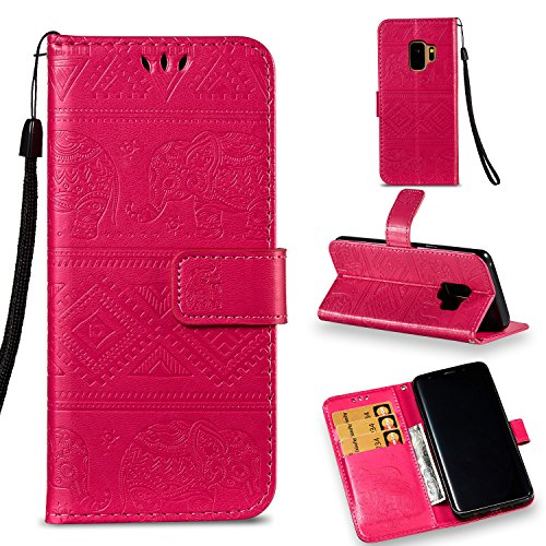 Galaxy S9 Wallet Case, KMISS Premium Emboss Elephant [Kickstand Feature] Flip PU Leather Wallet Protective Case Cover With Card Slot for Samsung Galaxy S9 (Red) 0.5' Car Speakers