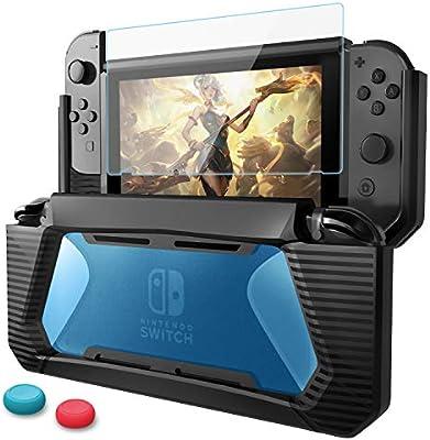 HEYSTOP Funda Nintendo Switch con Protector de Pantalla, TPU PC Carcasa de Protección para Nintendo Switch Consola,Anti-Choques/Arañazo (Negro/Azul)