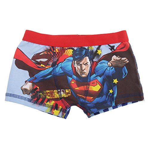 Superman Childrens/Boys Cotton Rich Boxer Shorts (5/6 Years) (Red/Blue) (Superman Cotton Boxers)