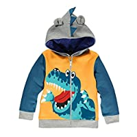 Garsumiss Little Boys Cute Animal Dinosaur Hoodie Sport Long Sleeve Cartoon Hooded, 3T, Yellow