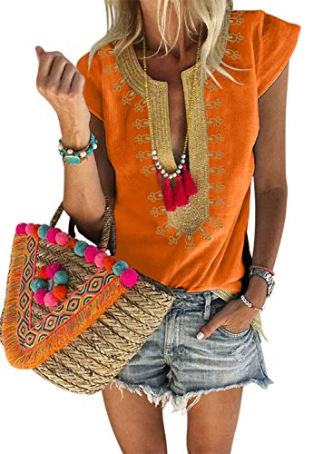 (Ausehed Womens Casual Shirt V Neck Embroidered T-Shirt Boho Print Tops Loose Blouse Orange M)