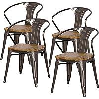 New Pacific Direct Metropolis Metal Arm Chair Wood Seat,Gunmetal Gray,Set of 4