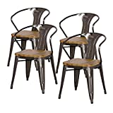 Cheap New Pacific Direct Metropolis Metal Arm Chair Wood Seat,Gunmetal Gray,Set of 4