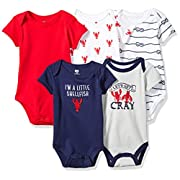 Hudson Baby Baby Cotton Bodysuits, Cray 5 Pack, 3-6 Months