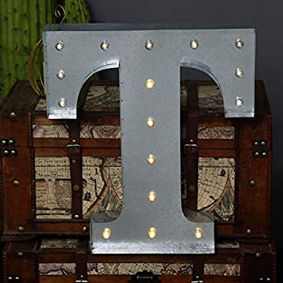 Tableclothsfactory 2 FT | Vintage Metal Marquee Letter Lights Cordless with 16 Warm White LED - T: Home & Kitchen