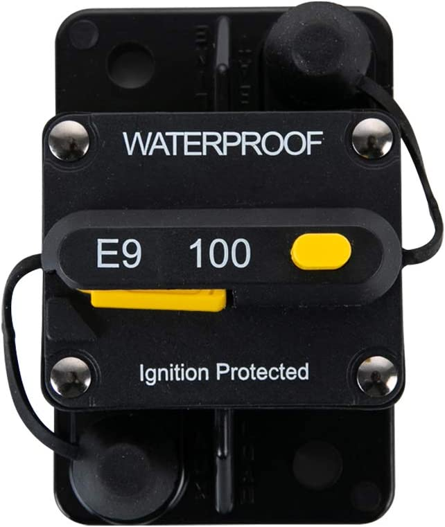 100Amp 72V DC 100Amp Circuit Breakers 25A-300A with Manual Reset Waterproof Inline Fuse Inverter for General Motors RVs Yachts Electric Cars Children Cars Waterproof 12V