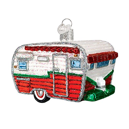 Old World Christmas Camping Outdoor Collection Glass Blown Ornaments for Christmas Tree, RV (Vintage Christmas Ornament Camper)