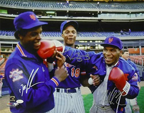Mike Tyson, Doc Gooden Darryl Strawberry Autographed New York Mets 16x20 Photo JSA